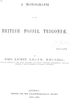 Lycett J. A monograph of the British fossil Trigoniae